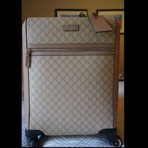 Gucci GG Supreme Monogram 4Wheel Carry On Suitcase